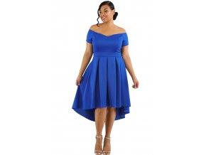 Blue Plus Size Off Shoulder Swing Dress LC61618 5P 1
