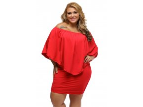 Plus Size Multiple Dressing Layered Red Mini Dress LC22820 3P 1