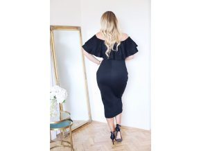 Black Layered Ruffle Off Shoulder Curvaceous Dress LC61611 2P 1
