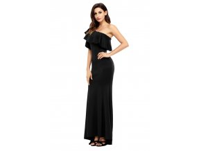Black Ruffle One Shoulder Elegant Mermaid Dress LC61630 2 5