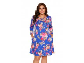 Royal Blue Floral Print Crisscross Neck Curvy Dress LC220127 5 4