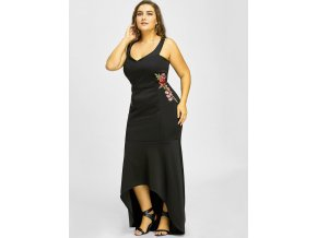 Dlhé čierne spoločenské šaty s kvetinami