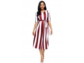 Wine Stripe Print Half Sleeve Belted Dress LC61654 3 1