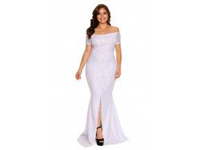 Dlhé biele čipkované šaty