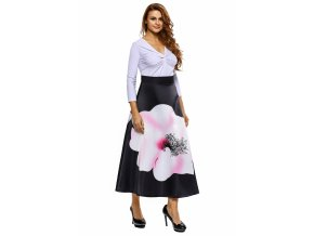 Big Flower Print Black High Waist Maxi Skirt LC65017 2 7