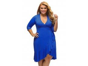 Elegantné modré zavinovacie šaty