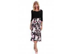 Čierne šaty s kvetinovou sukňou
