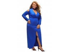 Blue Cold Shoulder Choker Neck Curvy Maxi Dress LC61334 5 5