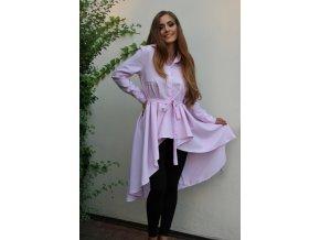 Košeľové šaty v svetlo-ružovej