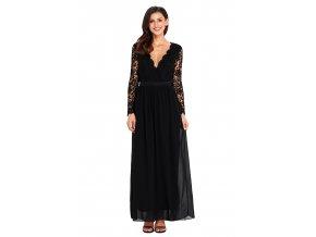 Čierne spoločenské šaty s odhaleným chrbtom