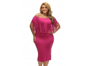 Rosy Short Sleeve Fringe Top Plus Size Dress LC61055 6 5