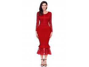 Red Hollow out Long Sleeve Lace Ruffle Bodycon Midi Dress LC61801 3 1