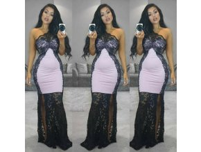 Čipkované šaty cez jedno rameno