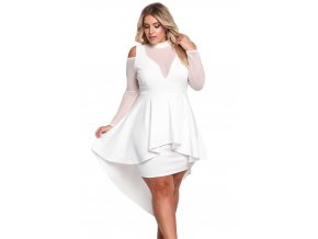 White Plus Size Mesh Trim Hi Lo Peplum Bodycon Dress LC61727 1 1
