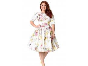 Biele šaty s kvetinovým vzorom