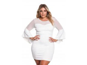 White Plus Size Mesh Trim Bell Sleeve Bodycon Dress LC220174 1 1