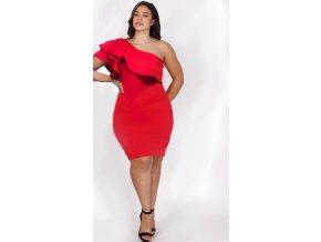 Červené šaty cez jedno rameno