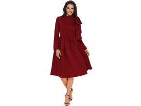 Burgundy Bowknot Embellished Mock Neck Pocket Dress LC61832 3 1