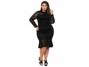 Black Plus Size Floral Lace Hi Lo Mermaid Dress LC61865 2 11