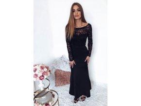 Spoločenské šaty v čiernej s mašľou