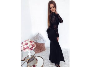 Black Lace Long Sleeve Bow Back Maxi Dress LC61857 2 1