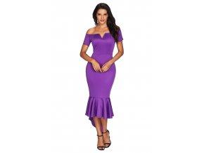 Fialové šaty s odhalenými ramenami