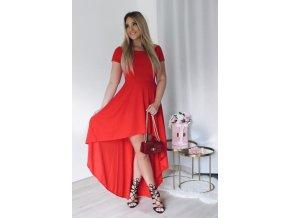 Asymetrické šaty s odhalenými ramenami v červenej