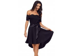 Asymetrické šaty s mašľou v čiernej