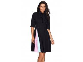 Čierne šaty s farebným detailom na sukni