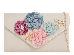 Biela kabelka s kvetinami