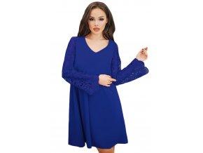 Modré voľné šaty s čipkovanými rukávmi