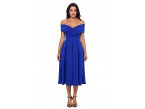 Modré midi šaty s odhalenými ramenami