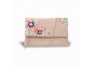 Béžová kabelka s farebnými kvetinami