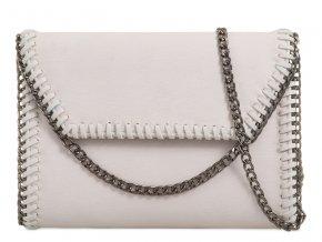 Biela listová kabelka s reťazovým lemom