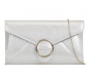 Strieborná listová kabelka so sponou