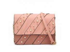 Broskyňová kabelka na rameno s perličkami