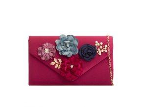 Bordová kabelka s kvetinami
