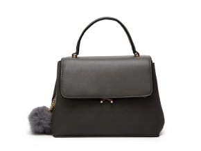 Elegantná tmavo-sivá kabelka s príveskom