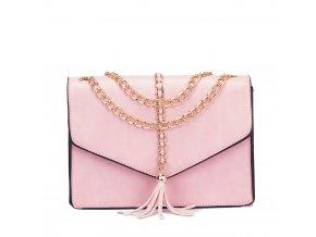 Ružová kabelka s reťazou v zlatej farbe