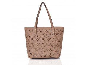 Shopper krémovo-hnedá kabelka
