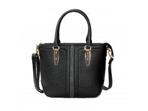 Elegantná čierna kabelka so zlatými detailmi