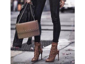 Hnedo-sivá vybíjaná kabelka