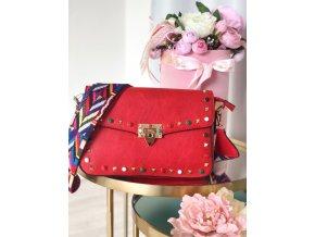 Červená kabelka s farebným popruhom Lola