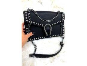 Čierno-strieborná vybíjaná kabelka