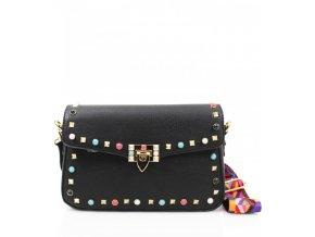 Čierna kabelka s farebným popruhom Lola