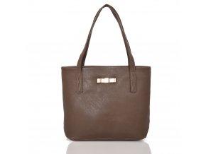 Tmavo hnedá shopper kabelka s mašľou