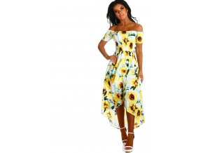 Asymetrické šaty so slnečnicami