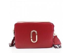 Červená crossbody kabelka s farebným popruhom
