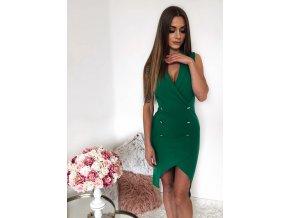 Elegantné zelené asmyetrické šaty bez rukávov