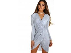 Svetlo sivé krátke šaty s dlhým rukávom